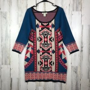 Flying Tomato   Knit Long Sleeve Aztec Boho Dress